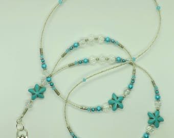 Forget-Me-Not Blue Flower Glass Beads ID Lanyard Badge Holder