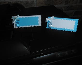 "place cards ""nipples"" blue and white"