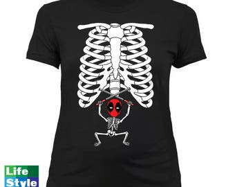 Halloween Maternity Skeleton (Deadpool) Skeleton Baby SuperHero Pregnancy Maternity Costume Tee Best Halloween Gift CT-1322