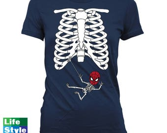 Halloween Skeleton Shirt, Maternity Announcement T-shirt (Spiderman) Skeleton Baby Shirts Pregnancy Halloween, Maternity Costume Tee CT-1318