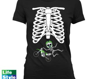Halloween Skeleton Shirt Maternity Announcement T-shirt (Motocross baby) Pregnant Skeleton Baby Shirts Pregnancy Halloween Costume CT-1324