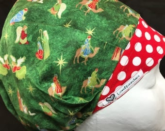 Christmas Surgical Cap Bouffant Scrub Hats Scrub Caps for Women Tech OR Nurse Surgery Red Band Christmas Gold Metallic Green LoveNstitchies