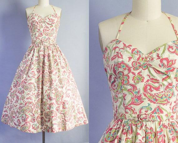 1940s Paisley Halter Dress and Bolero   Small (34B/26W)