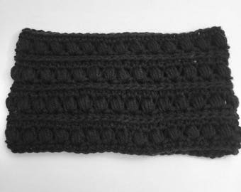 Black Bubbles Crochet Scarf, Handmade Cowl, Infinity Scarf