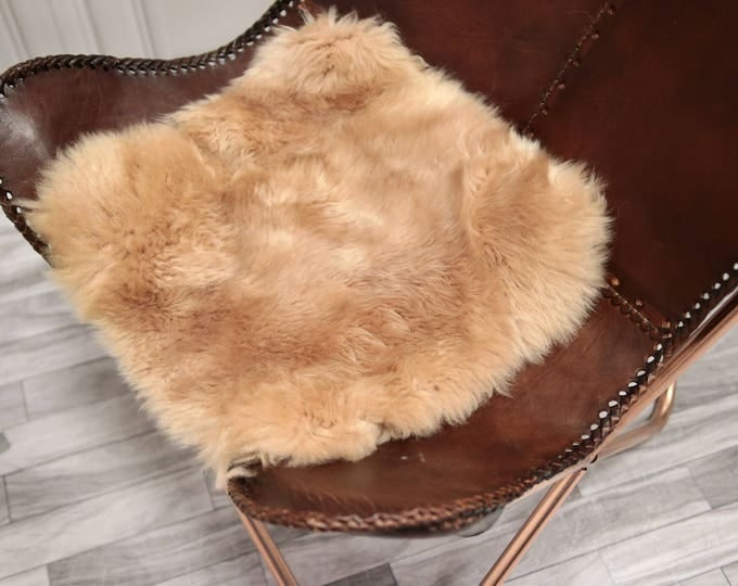 Champagne Stool Cover | Sheepskin Stool Cover | Chairl Cover | Furry Stool | Scandinavian Decor | Seat Pad | Chair Pad