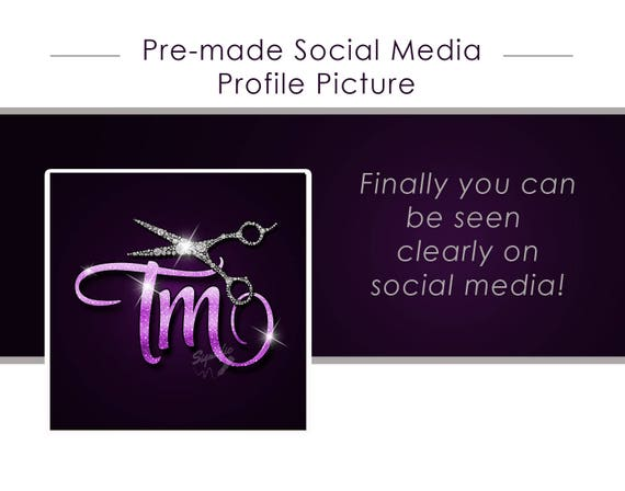 Premade Glitter Bling Hair Salon Facebook Profile Picture, Instagram Profile Picture, Avatar, Icon, Bling Social Media Profile Picture Icon