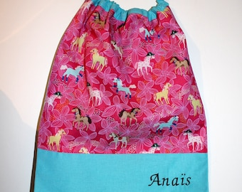 Christmas, birthday, canteen * napkin bib neckline with elastic at the neck, cotton pretty ponies - custom