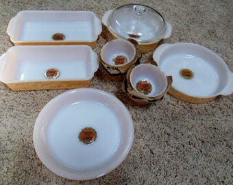 NEW PRICE - Anchor Hocking Fire King Unused 12 Piece Ovenware Set in the Copper Tint Color