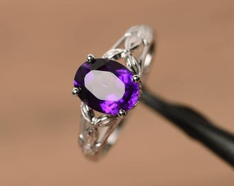 natural amethyst ring engagement ring oval cut sterling silver ring purple gemstone ring February birthstone ring