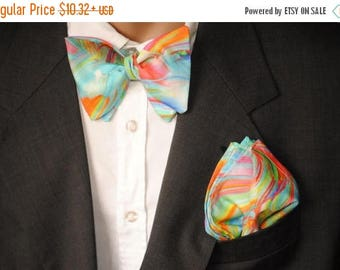 15% off rainbow wedding rainbow self tie bow tie men's bow tie groom's bow tie pre tied bow tie clip on bow tie father and son matching bow