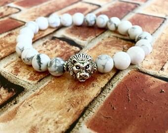 White Howlite Silver Lion Bracelet, Unisex Bracelet, Gifts for Him, Gifts for Her, Wellness Bracelet, Birthday Gift Ideas, Healing Bracelet