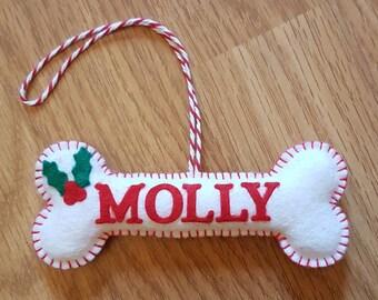 Personalised dog bone decoration, dog bone decoration, dog decoration, felt Christmas dog bone, felt dog bone ornament, Christmas dog bone