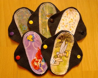"Set of 5 budget 6"" washable, reusable, 100% cotton/brushed cotton cloth pantyliners with exposed core - 2.25"" wide"