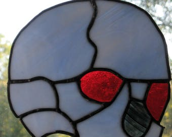 Stained Glass Halloween Skull/Handcrafted/FREE Shipping