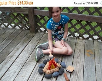 ON SALE READY To Ship Childrens Campfire Bonfire: Teepee Toy . Make Believe.Camping.  Toy . Smores. Marshmallows. Cookout .Pretend Play