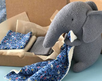 Organic Stuffed Elephant Kit (Option 2 with Blanket) with PDF Sewing Pattern and Tutorial — Plush Elephant Kit — DIY Baby Gift