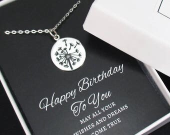 Dandelion Necklace Sterling Silver Birthday Necklace, Wish Necklace, Believe, Hope, Inspirational Jewelry, Birthday Gift