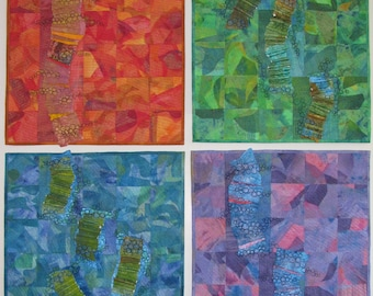 Art quilt wall hanging, green abstract quilt, Colorful art living room decor, office wall decor, quilts for sale, quilting designs