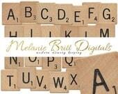 SCRABBLE Wood Alphabet, Printable pdf, Scrabble Tiles, Scrabble Game Pieces, Scrabble Tile Guide, Digital Alphabet, INSTANT DOWNLOAD