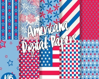 AMERICANA Digital Paper, Printable pdf, Red White and Blue, Fireworks, Fourth of July, Independance, Printable Papers, INSTANT DOWNLOAD