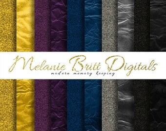 GLITTER and FOIL digital paper pack, royal blue paper, gold glitter paper, silver foil, gold foil, purple glitter paper, instant download