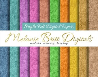 BRIGHT FELT PAPER, digital paper pack, blue felt, purple felt, hot pink felt, yellow felt, green felt, printable felt pdf, instant download