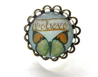 Ring bronze cabochon tone sky blue butterfly