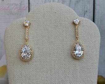 FAST SHIPPING!! Beautiful Gold Zirconia Earrings, Bridal Zirconia Earrings, Mother of the Bride Gift, Bridesmaid Earrings, Sweet 16 Earrings