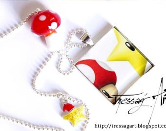 Necklace pendant made of resin Super geeky mario mushroom toad and Star