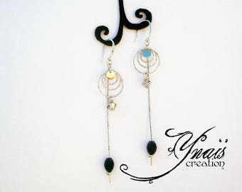 Earrings Silver 925 set with circles and Crystal