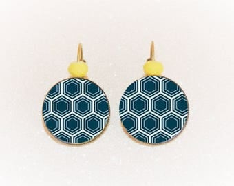 Earrings sleepers silver cabochon blue/yellow geometric pinwheel