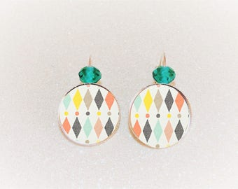 Earrings sleepers silver cabochon pastel Argyle geometric