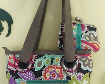 floral print purse w/clutch