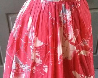 40s/50s red atomic abstract novelty print fully lined skirt