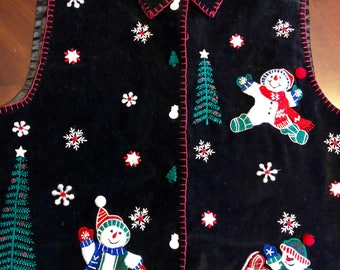 1990's Velvet Ugly Christmas Vest, TACKY, Embroidered, Christmas Trees, Snowmen, Snowflakes, Woman's Size Large, Clean!