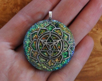 Archangel Metatrons Cube Sacred Geometry Meditation Green Copper Gold Turquoise Blue Crystal Soul-Antenna Ormus Orgone Necklace Pendant 40mm