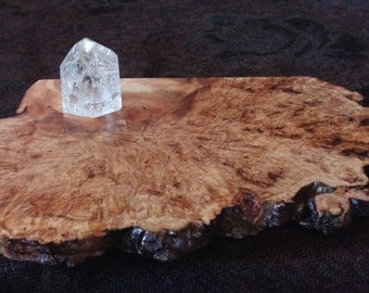 Grounding Earth Vortex Swirl Sacred Splash Live-Edge Exceptional Aspen Burl Wood Slab Altar Table Stand Shelf Crystal Display Holder Decor