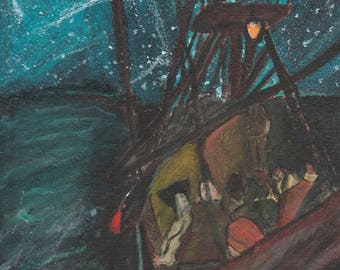Night Scene Pirates on Endeavour Boat Print
