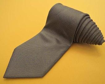 Paul Smith Tie Pure Silk Lattice Pattern Brown Vintage Designer Dress Necktie Made In Italy