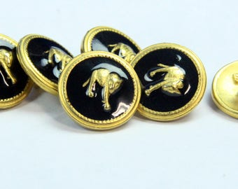 Gold Panther Cat Metal Sewing Buttons ( 6 pieces)