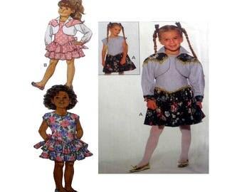 Girls Dress and Bolero Jacket Sewing Pattern Child Size 5, 6, 6X Uncut Butterick 6607