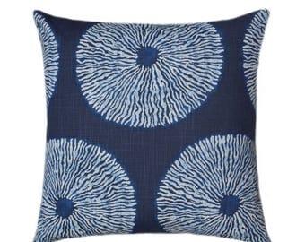 SALE Robert Allen Shibori Sol Indigo, Medallion Decorative Pillow Cover, Indigo Blue Accent Pillow, Shibori Throw Pillow, Navy Zippered Euro