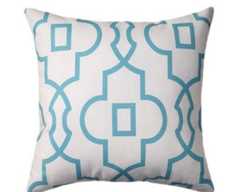 SALE Light Blue Pillow Cover - Coastal Blue Throw Pillow - Bordeaux Coastal Lattice Pillow Cover - Geometric Zippered Pillow - Blue White Pi