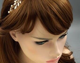 Bridal Flower Crown,Freshwater Pearl Wedding Tiara,Gold Wedding Headband,Floral Bridal Tiara,Flower Crown,Gold Wedding Headband HMH09934