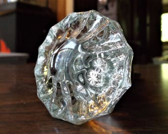 Vintage, Fluted Crystal Door Knob, Old Architectural, Hardware, Door Knobs, Escutcheon, Crystal Knobs, Gift For Her, Home Decor, Spindle