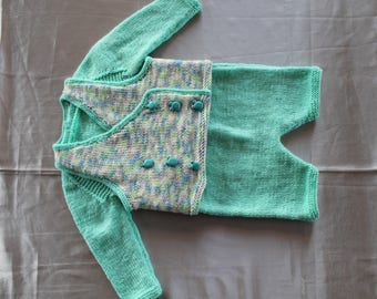 hand knitted knitted playsuit and bolero, frog, green, set