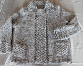 Knit Jacket, chunky knit, gray, with hand knitted, silver wire