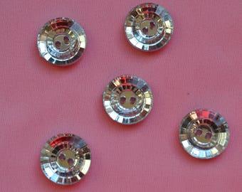 set of 5 buttons round rhinestones