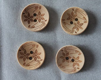 1 lot, button, beige wood printed ffeur, 20 mm in diam.