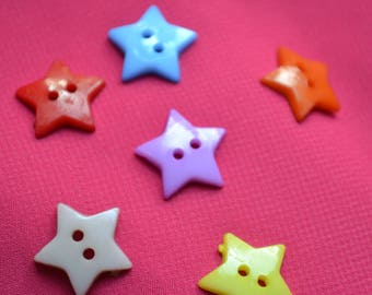 set of 6 buttons baby star 15mm